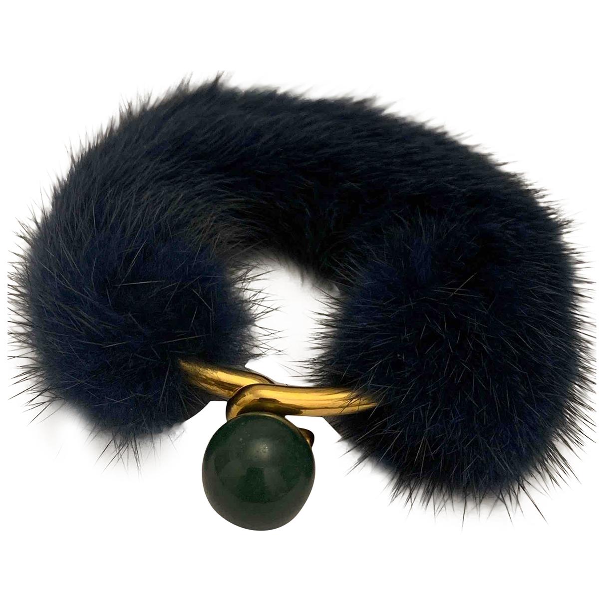 Celine - Bracelet Dot pour femme en fourrure - marine