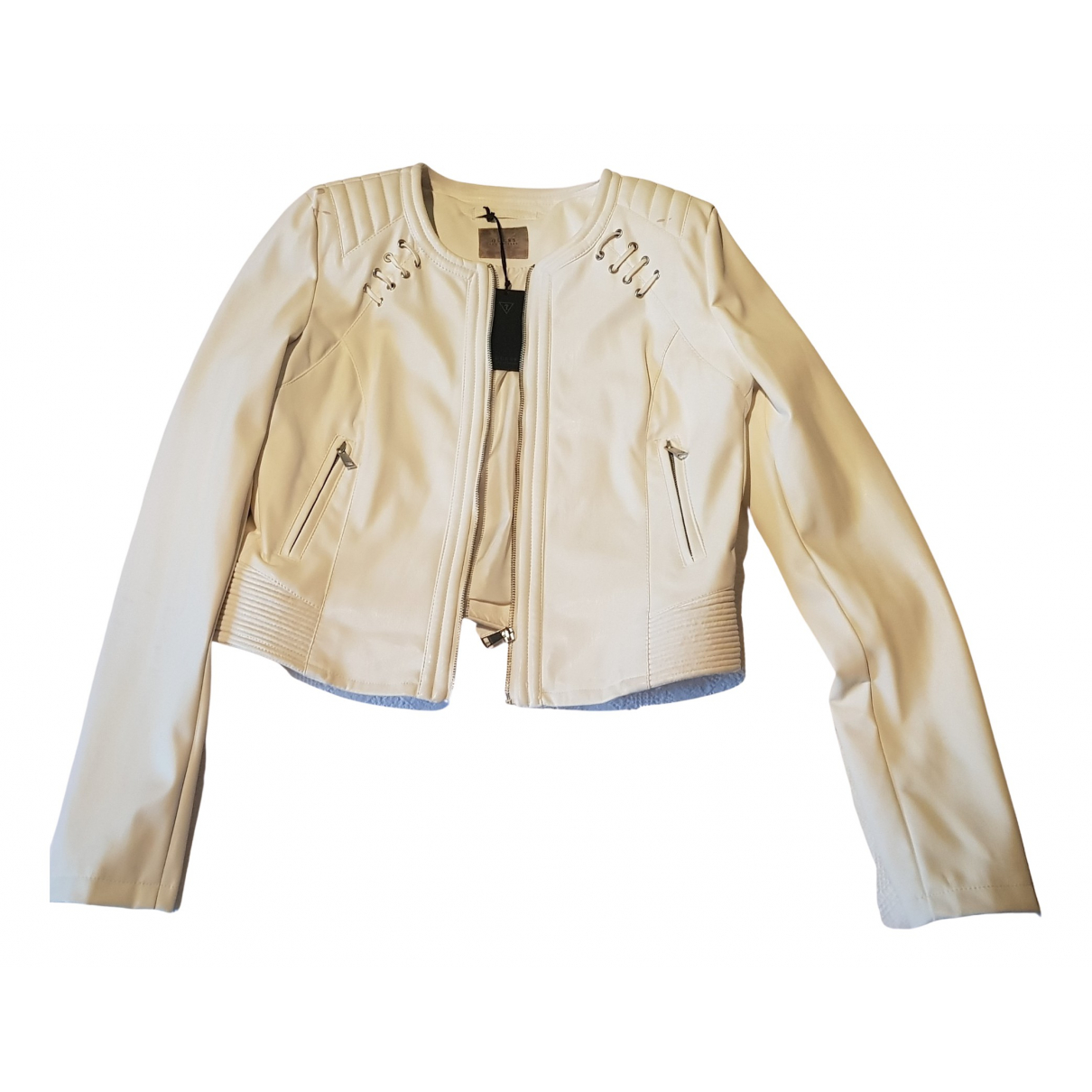Guess N White Leather Leather jacket for Women 42 IT