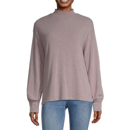 a.n.a-Womens Mock Neck Long Sleeve T-Shirt, X-large , Purple