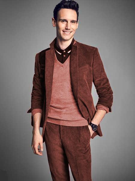 Mens Rust Notch Lapel Velvet CORDUROY SUIT Blazer Sportcoat Slacks