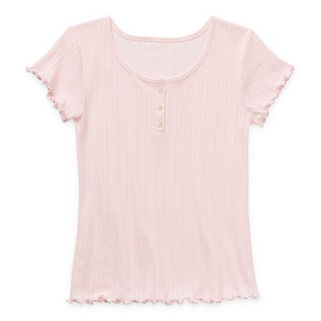 Arizona Little & Big Girls Short Sleeve Henley Shirt, Medium (10-12) , Pink