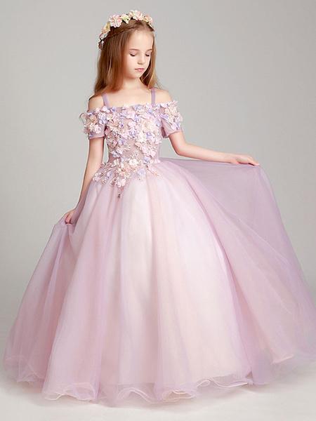 Milanoo Flower Girl Dresses Blush Pink Off The Shoulder Applique Back Illusion Floor Length Kids Pageant Dresses