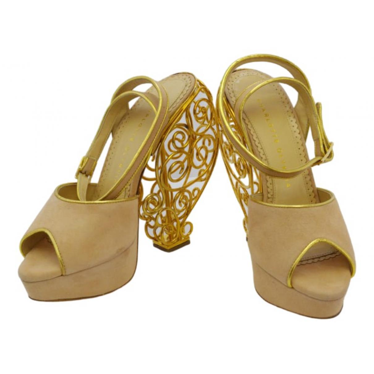 Charlotte Olympia \N Ecru Leather Sandals for Women 37.5 EU