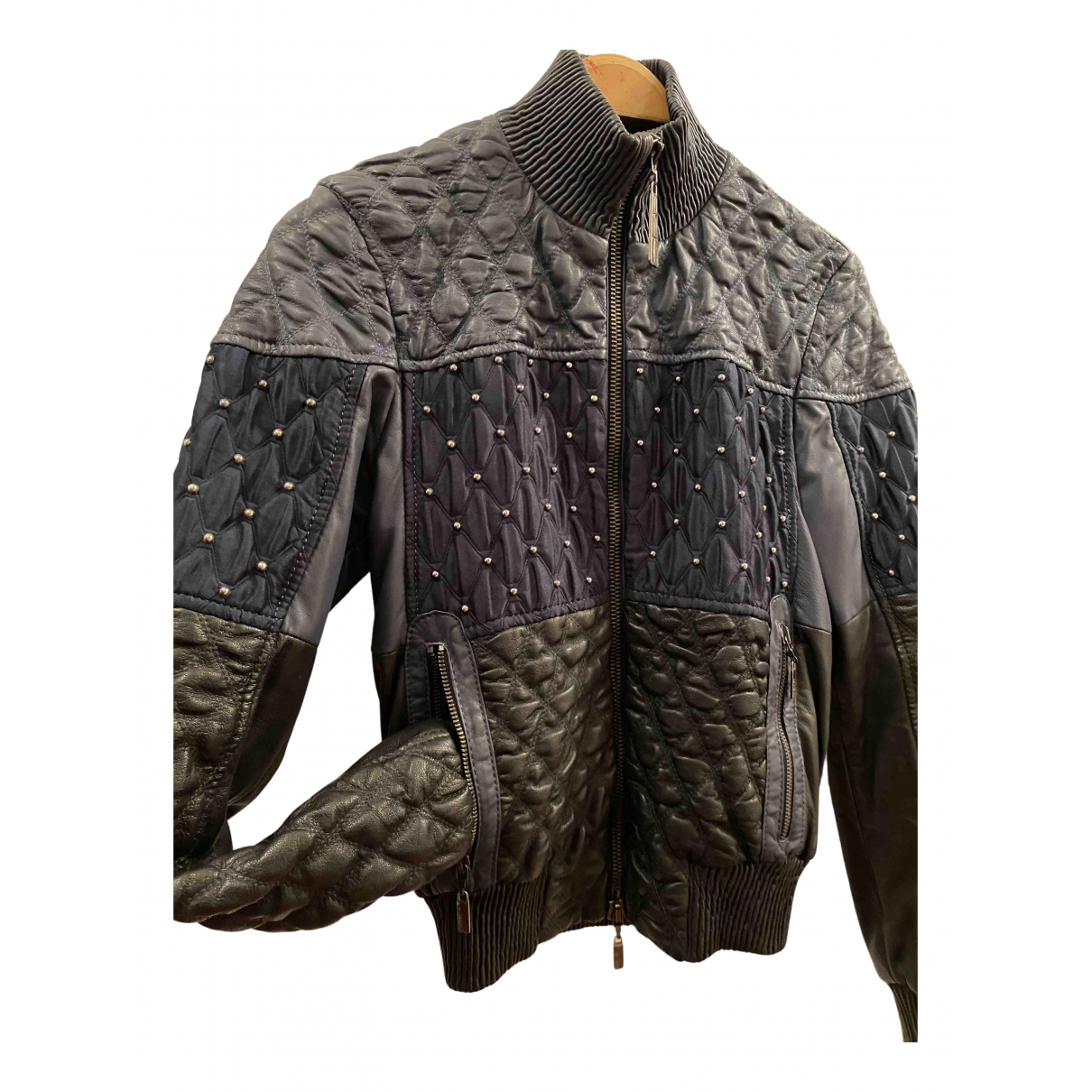 Roberto Cavalli N Blue Leather jacket for Women 42 IT