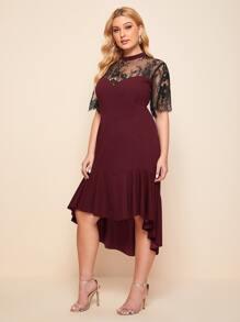 Plus Lace Panel High Low Ruffle Hem Prom Dress