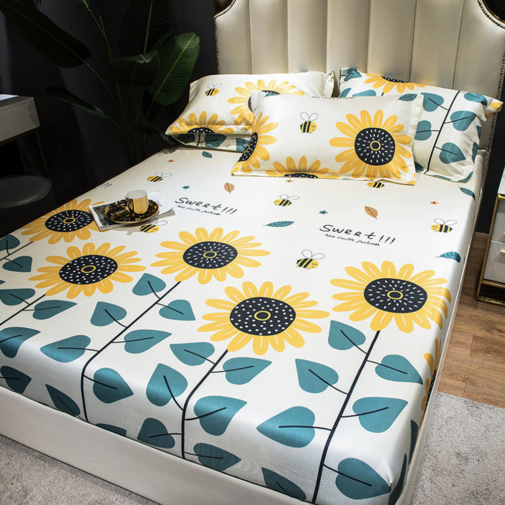 Sunflower in Bloom 3Piece Polyester Bedding Sets Soft Durable Zipper Bedding Sets Household Necessary Set