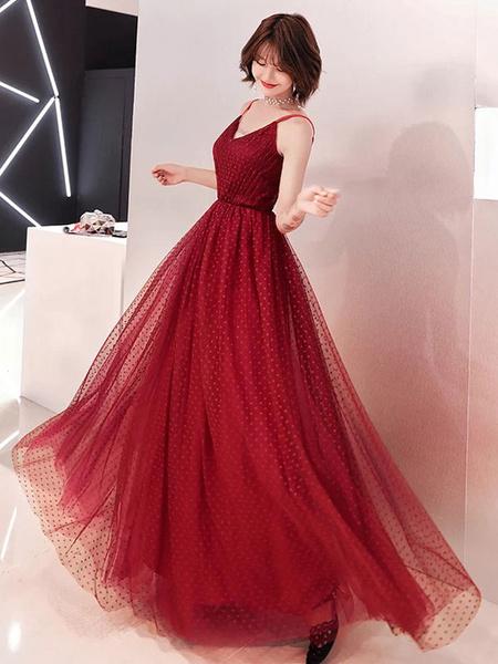 Milanoo Burgundy Prom Dresses Tulle Long V Neck Maxi Formal Party Dress