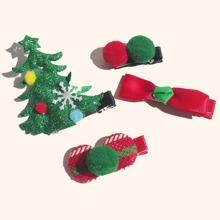 4 piezas horquilla de niñas con diseño de Navidad