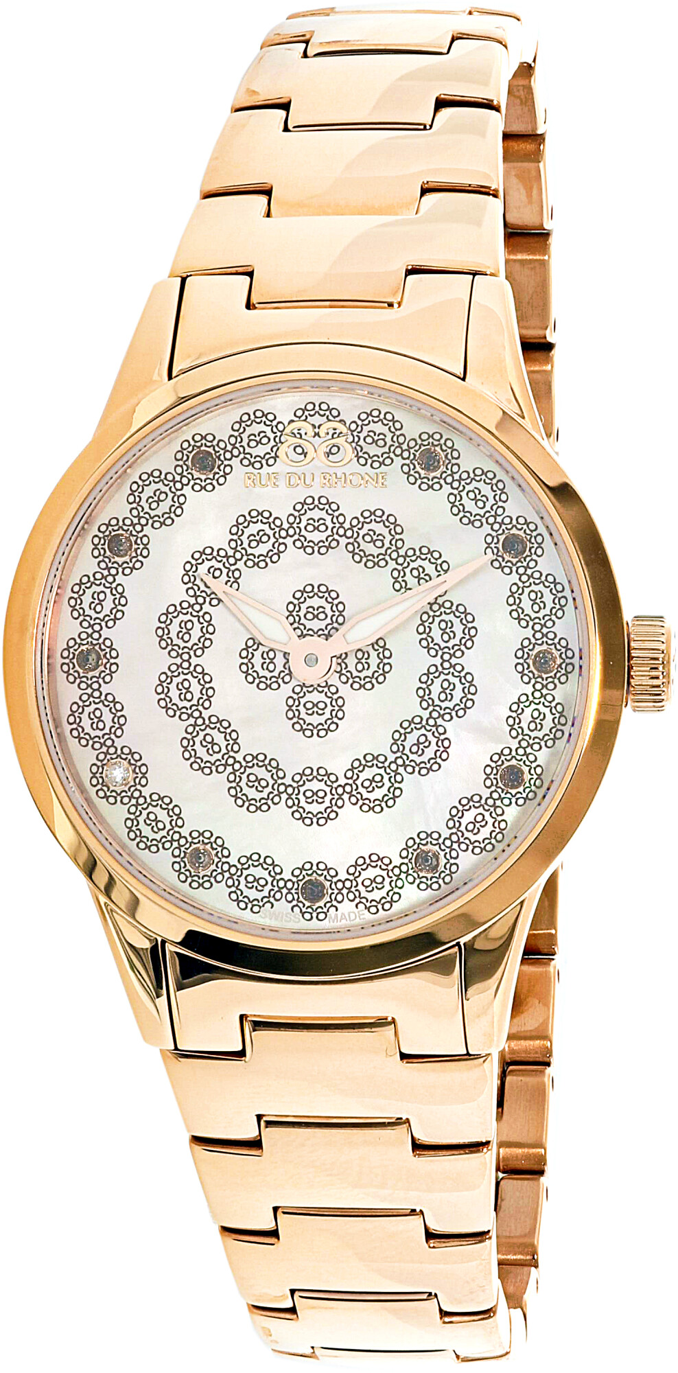 88 Rue Du Rhone Womens Rive 87WA153202 Rose-Gold Stainless-Steel Plated Swiss Parts Quartz Dress Watch