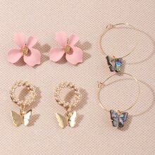 6 Paare Ohrringe mit Schmetterling & Blumen Design