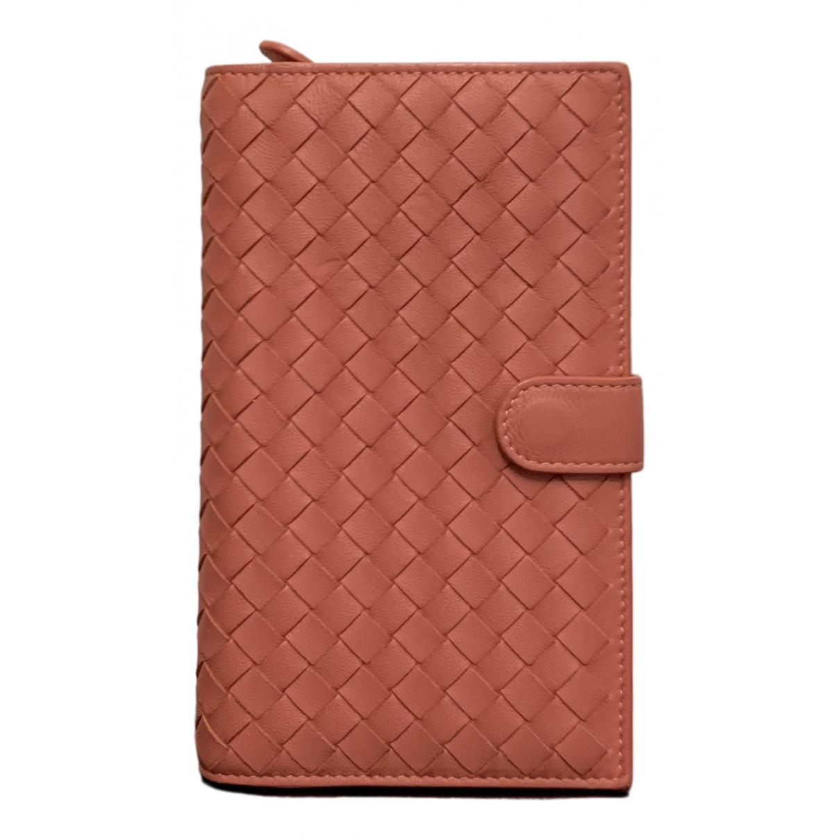Bottega Veneta - Portefeuille   pour femme en cuir - rose