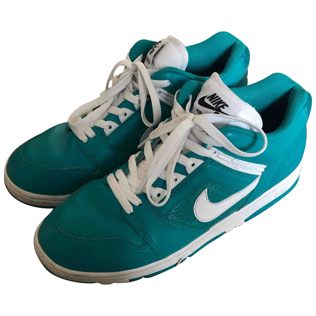 Nike X Supreme SB Air Force 2 Low Turquoise Leather Trainers for Men 10.5 US