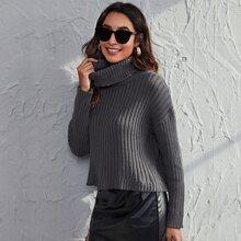 Rolled Neck Drop Shoulder Sweater