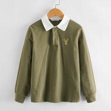 Polo Shirt mit Hirsch Stickereien