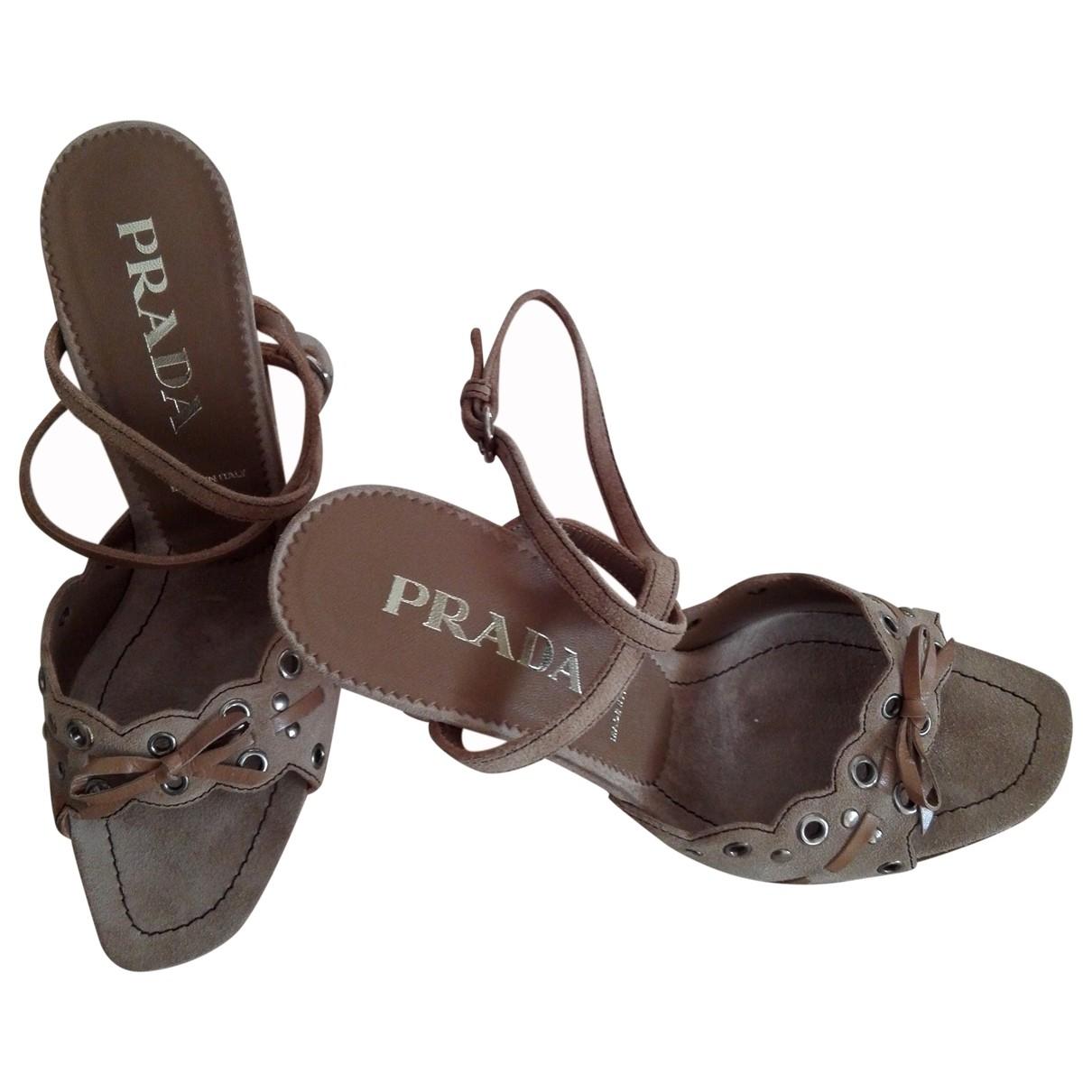 Prada - Sandales   pour femme en suede - beige