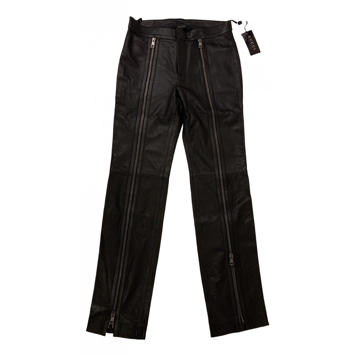 Gucci \N Black Leather Trousers for Women 44 IT