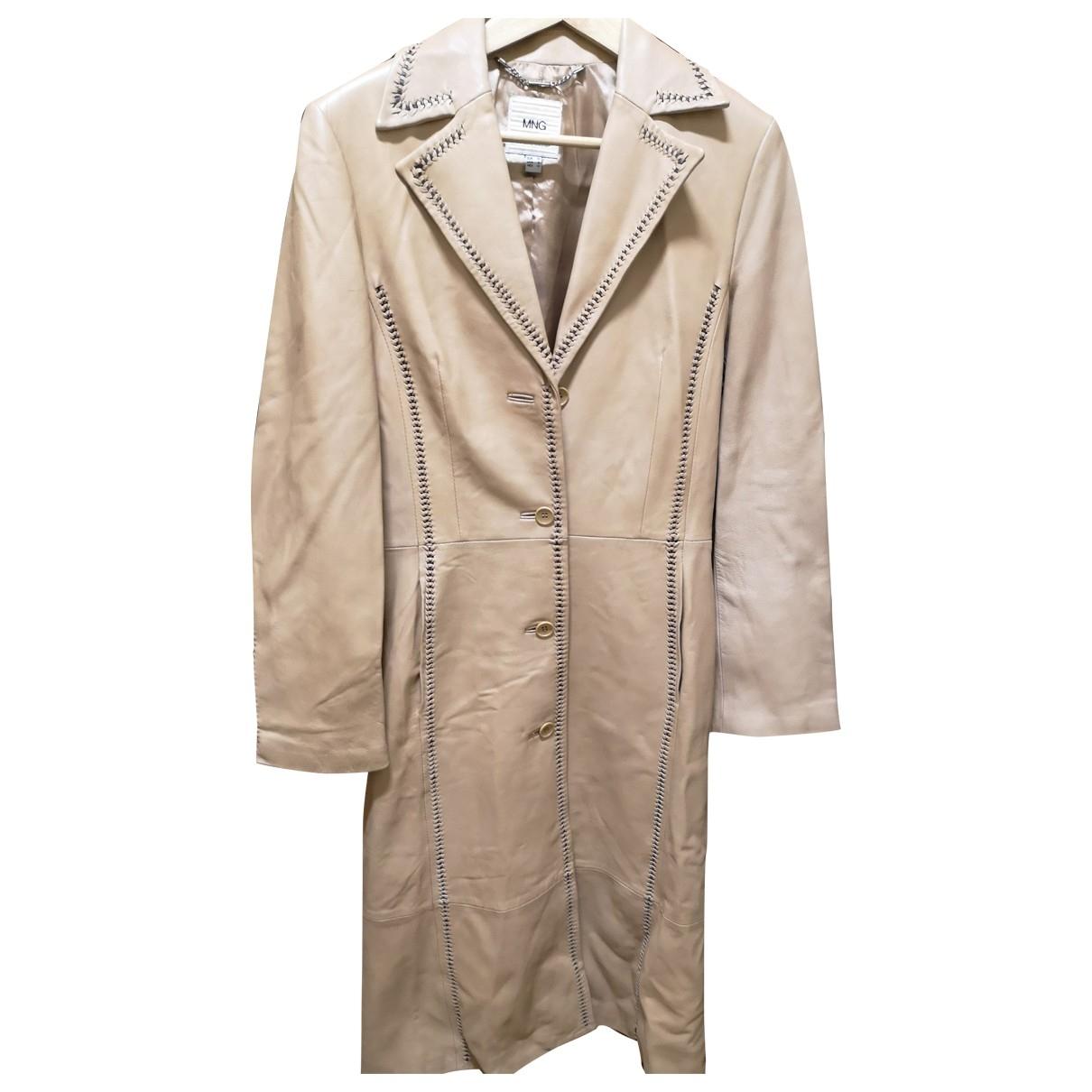 Mango - Manteau   pour femme en cuir - camel