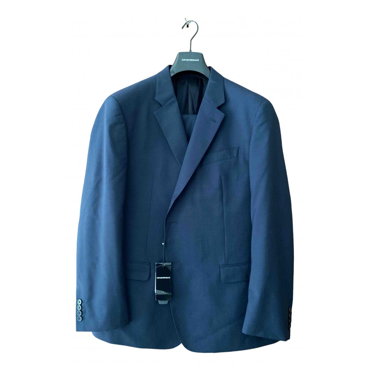 Emporio Armani N Blue Wool Suits for Men XXXL International