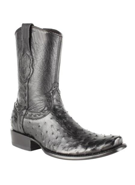 Men's Full Quill Ostrich Skin Dubai Toe Black Handcrafted Leather Boot