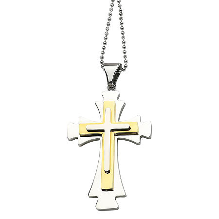 Mens Stainless Steel Gold Ion-Plated Cross Pendant, One Size , No Color Family