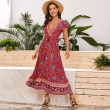 Kleid mit Blumen & Stamm Muster, V Kragen und Selbstguertel