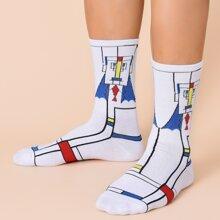 Men Geo Print Crew Socks