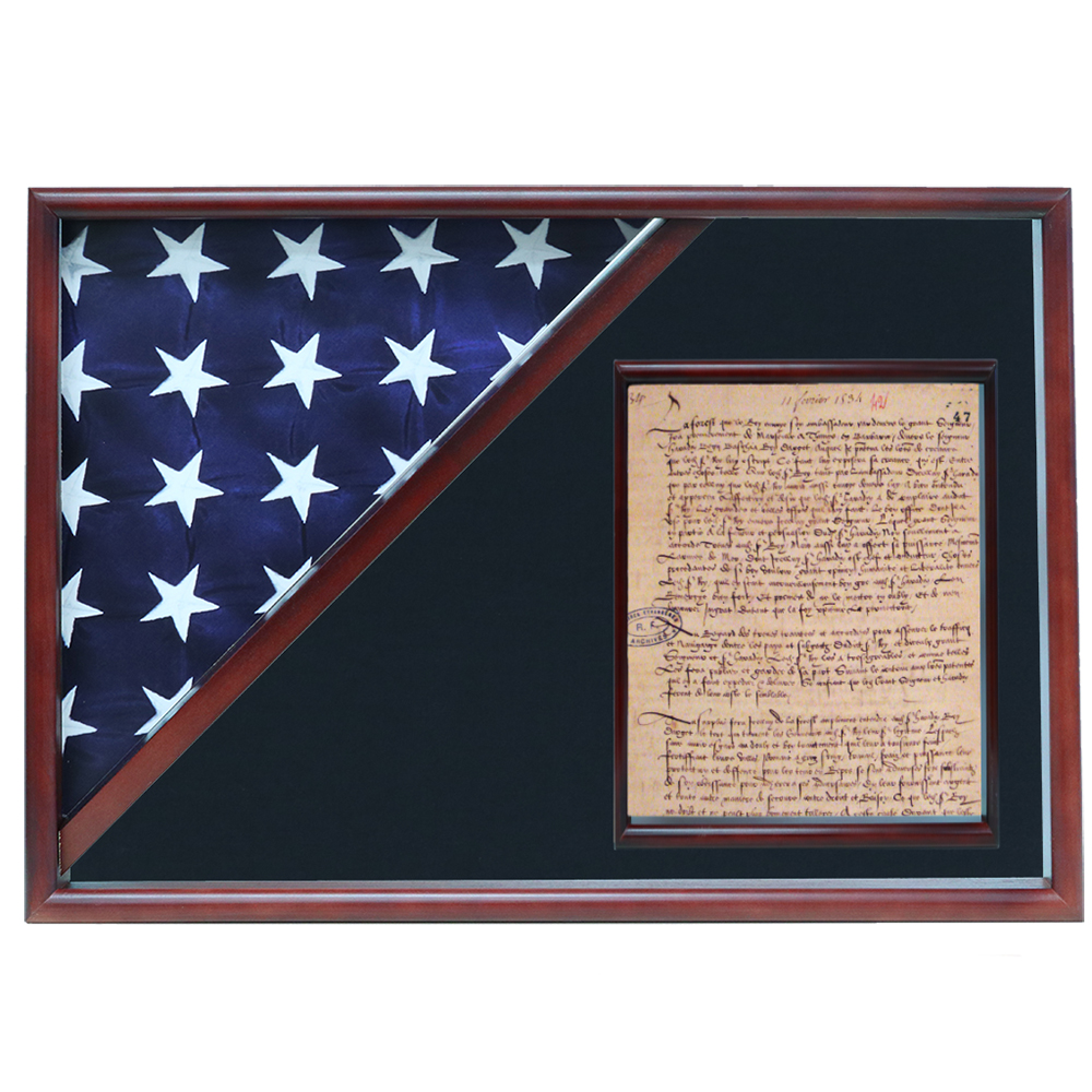 Memorial Flag and Doc Case, Cherry, Air Force Blue background
