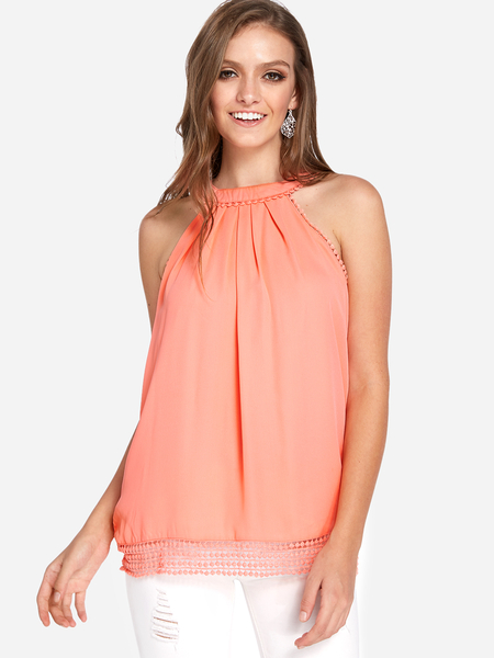 Yoins Pure Color Hollow Out Back Lace Detail Tank Top