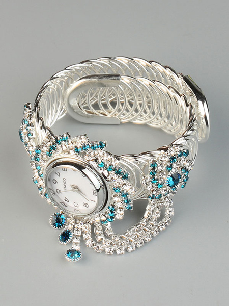 Milanoo Cuff Bracelet Watch Round Dial Quartz Wrist Watch With Rhinestone Chain