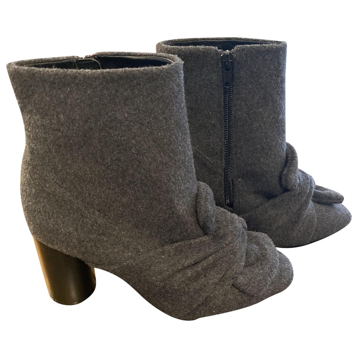Zara - Boots   pour femme en tweed - gris