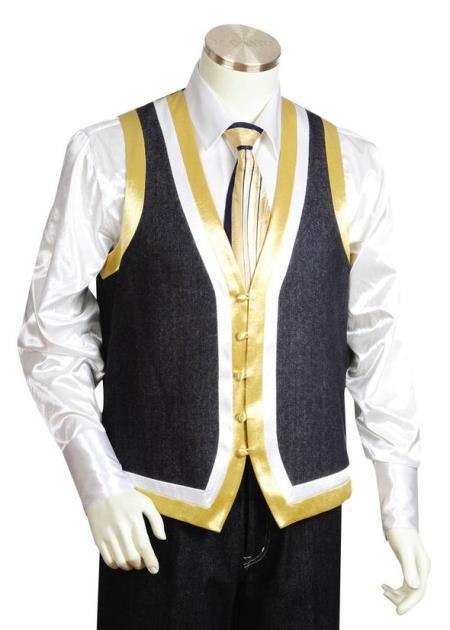 Mens Button Ribbon Fastener Black Shawl Lapel Vest and Pant