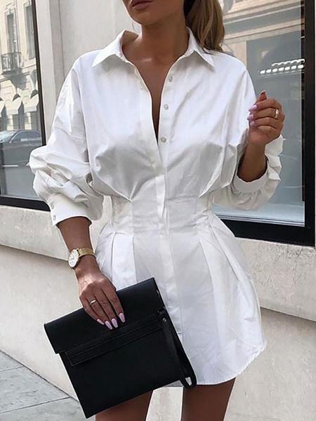 Milanoo White Shirt Dresses Women Turndown Collar Long Sleeve Slim Fit Buttoned Midi Dress