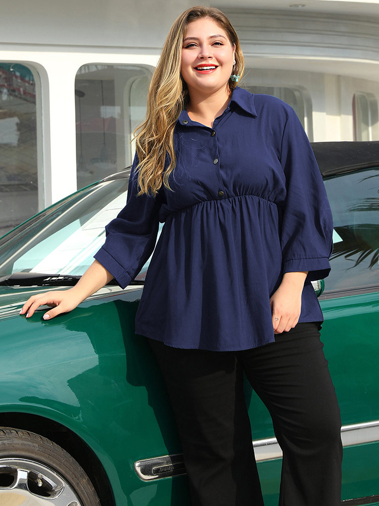 Solid Color Empire Waist Long Sleeve Plus Size Shirt