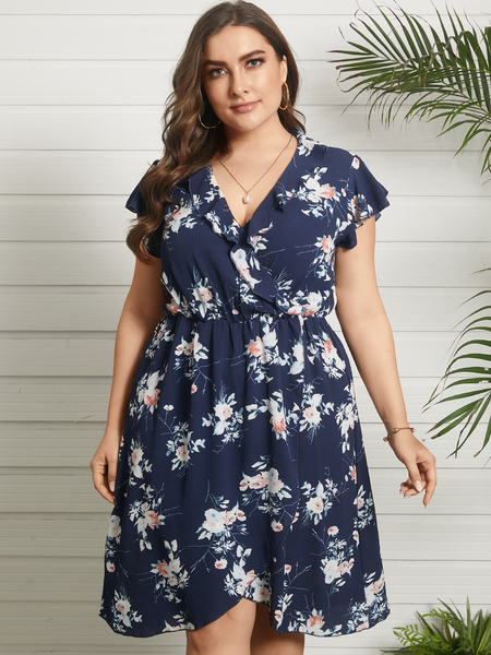Yoins Plus Size V-neck Floral Print Ruffle Trim Wrap Design Short Sleeves Midi Dress
