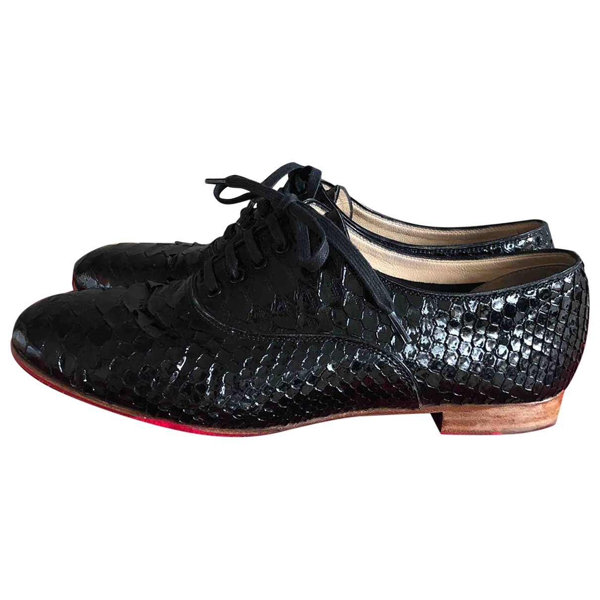Christian Louboutin \N Black Python Lace ups for Women 38 EU