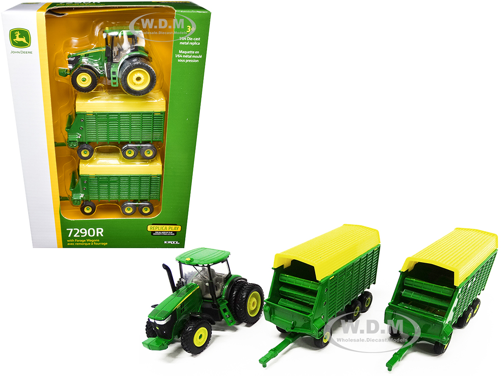 John Deere 7290R Tractor with Two Forage Wagons 1/64 Diecast Models by ERTL TOMY