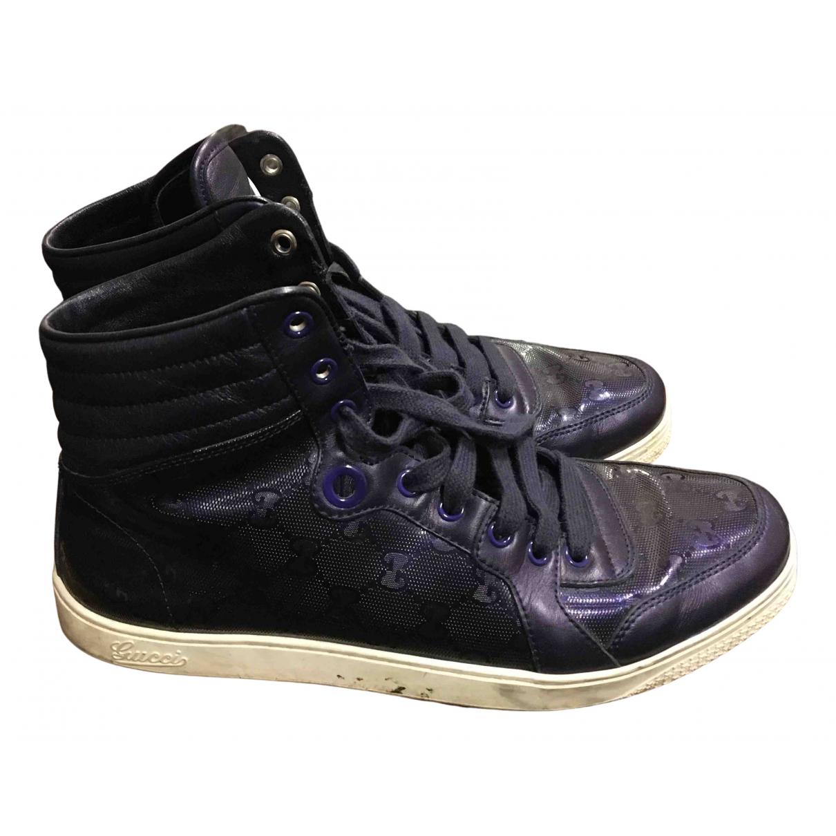 Gucci Gucci Dapper Dan Blue Leather Trainers for Men 41.5 EU