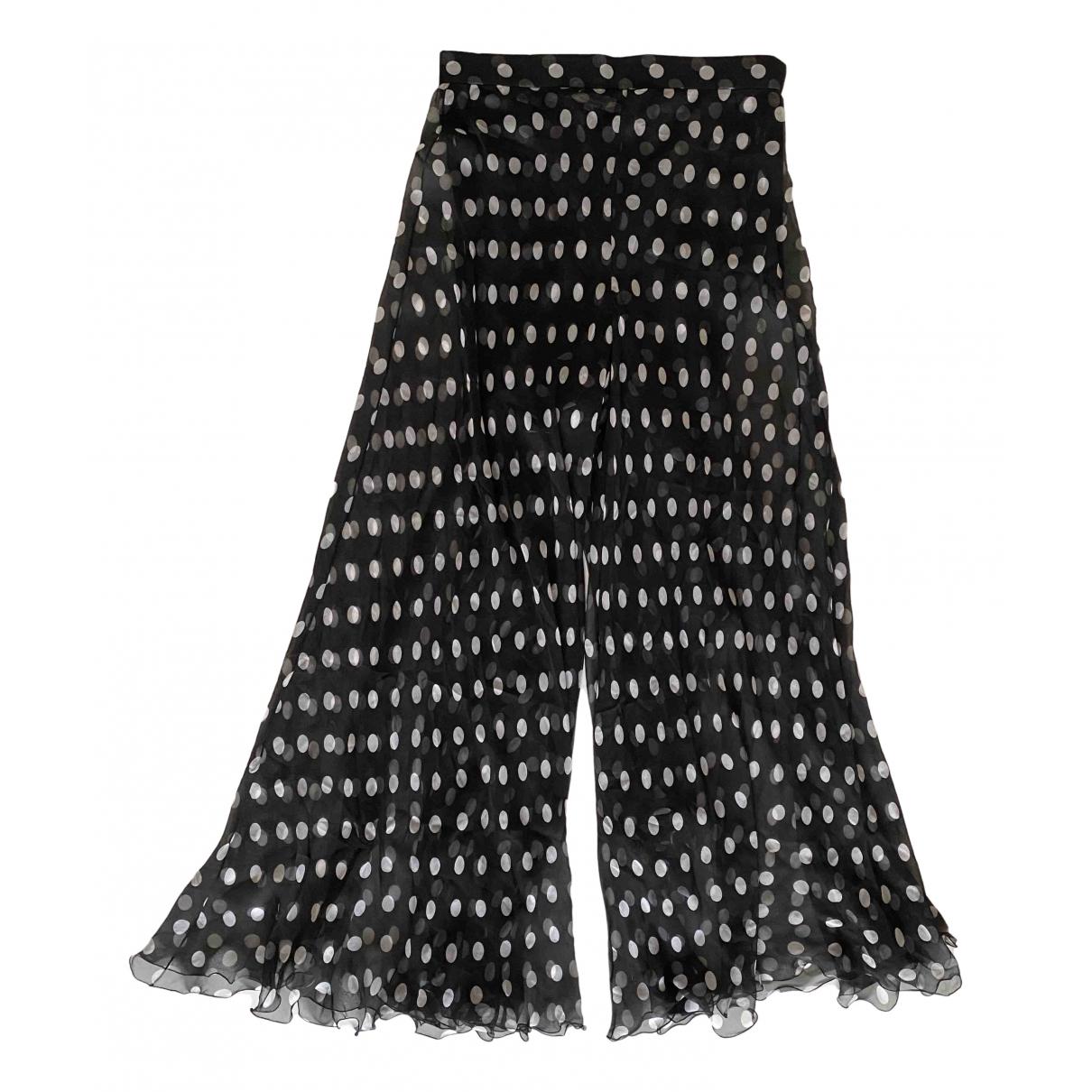 Yves Saint Laurent \N Black Silk Trousers for Women 44 FR