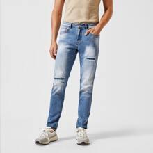Men Ripped Straight Leg Jeans