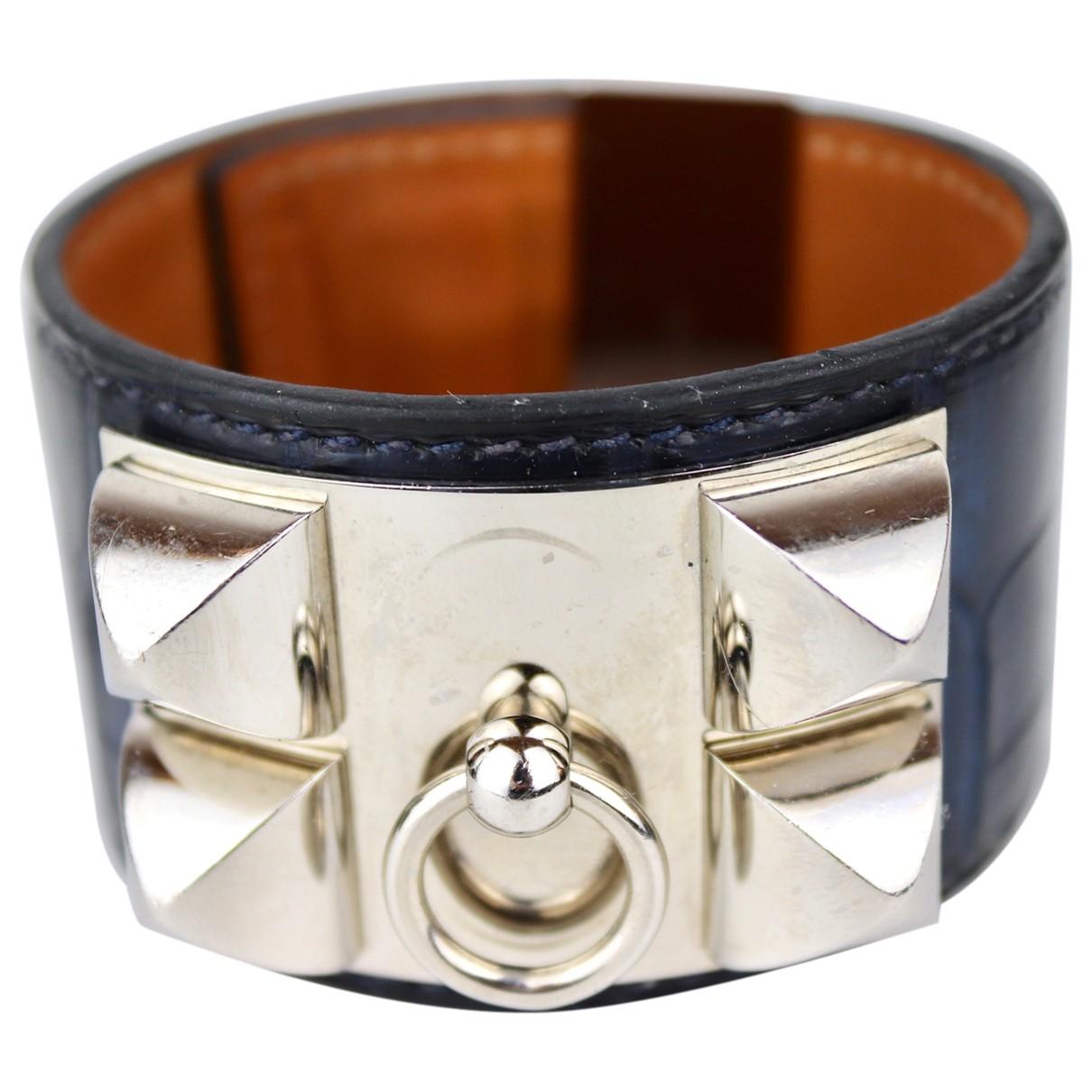 Hermès Collier de chien  Blue Crocodile bracelet for Women \N