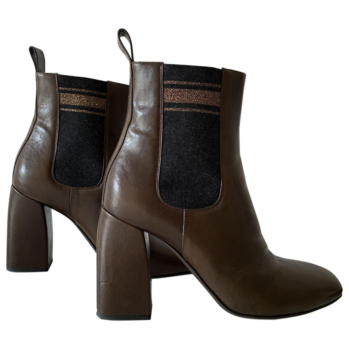 Brunello Cucinelli \N Brown Leather Ankle boots for Women 38 EU