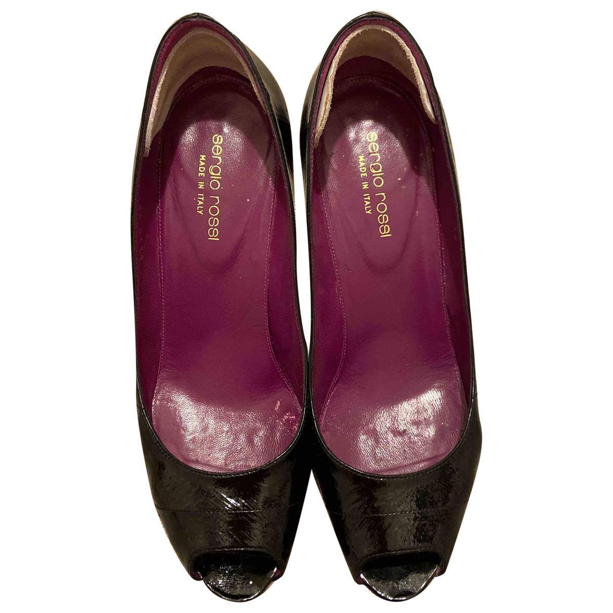 Sergio Rossi N Black Eel Heels for Women 38 IT