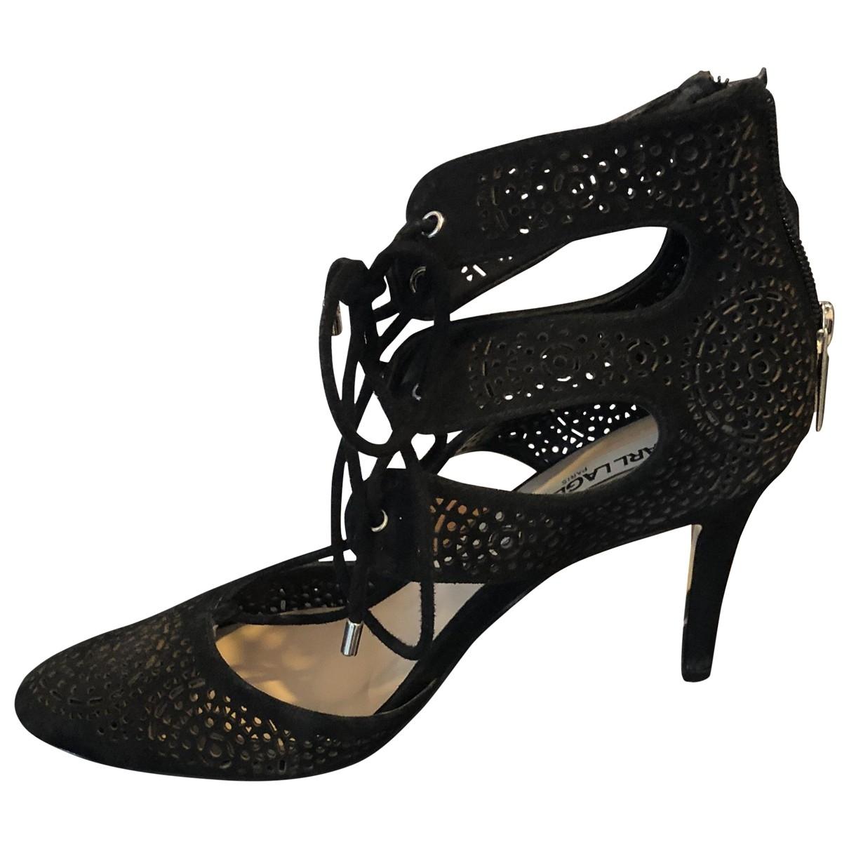 Karl Lagerfeld \N Black Leather Sandals for Women 38 EU