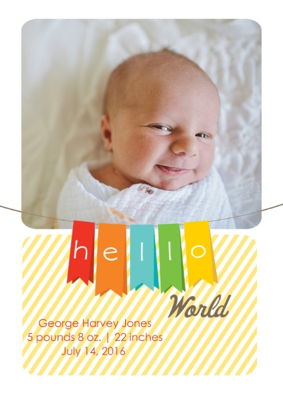 Newborn Flat Matte Photo Paper Cards with Envelopes, 5x7, Card & Stationery -Hello World Baby