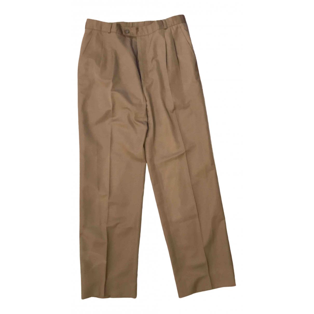 Yves Saint Laurent \N Beige Cotton Trousers for Men 42 FR