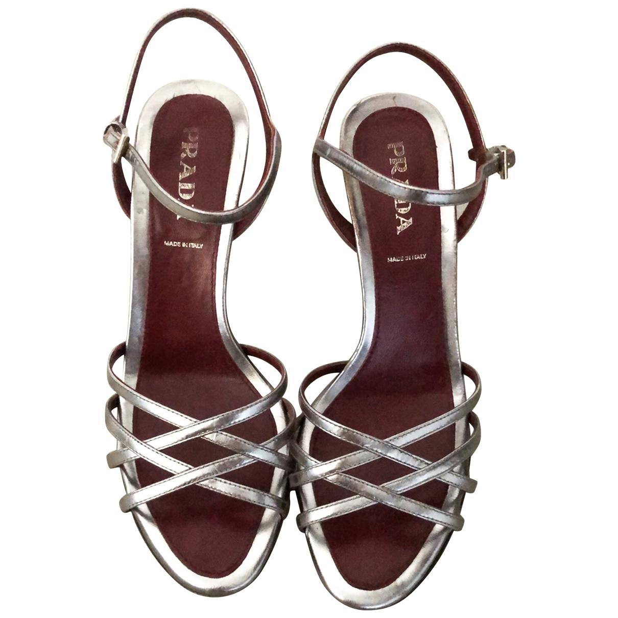 Prada \N Silver Patent leather Sandals for Women 37.5 EU