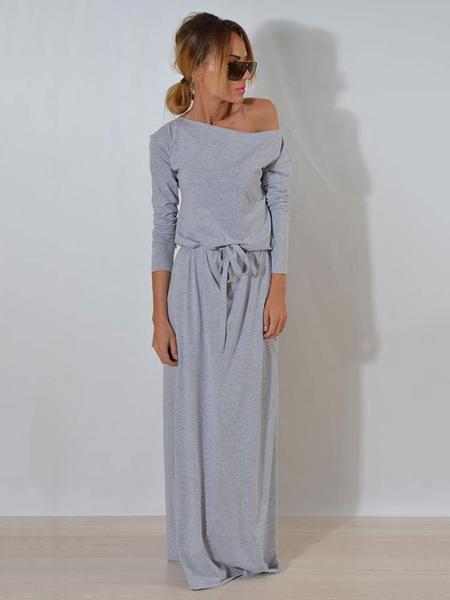 Milanoo Women Maxi Dress Drawstring Pleated Grey Long Sleeve Women Long Warp Dress