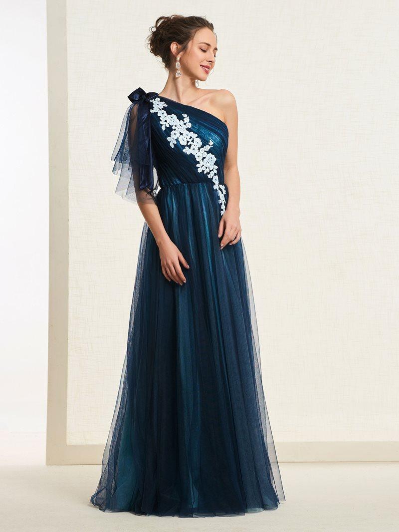 Ericdress One Shoulder Short Sleeves Pleats A-Line Evening Dress