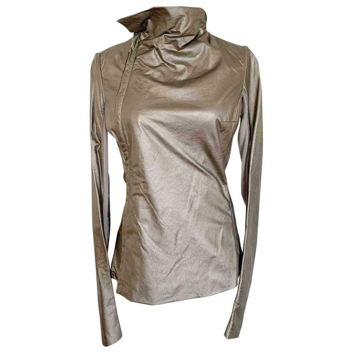 Rick Owens - Veste   pour femme en cuir - metallise