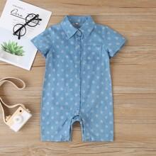 Baby Jungen Romper mit Blatt Muster und Knopfen